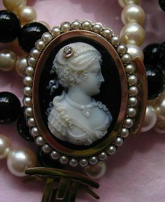 Magnificent Victorian Hard Stone Cameo, Onyx and Cultured Pearls Necklace ca 1880
