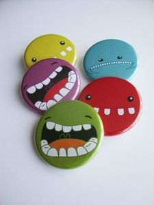 Cool monster buttons! #monster #teeth #pinbackbutton