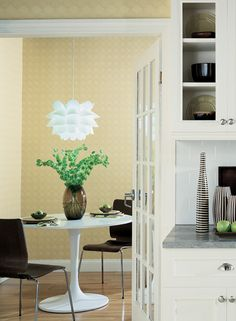 Add a subtle pop of modern design and color to a kitchen or breakfast nook with Candice Olson's Circles and Dots wallpaper. (CO2117)