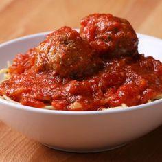Easy Slow-Cooker Mozzarella-Stuffed Meatballs And Sauce