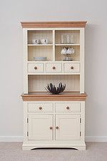 Cream Modern Kitchen Dresser - Modern kitchens today still serve the purpose that kitchens of the past have done, it's the p Dining Room Dresser, Kitchen Dresser, Kitchen Cupboards, Kitchen Furniture, Home Furniture, Furniture Stores, Furniture Design, Funky Furniture, Cheap Furniture