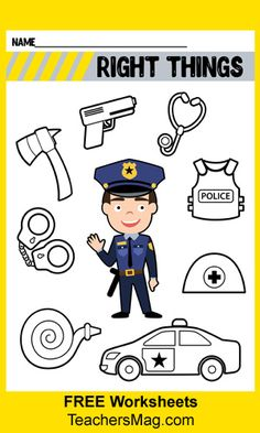 Have students circle the right things that go with a police officer and put a big X over the things that do not. Police Activities, Toddler Learning Activities, Preschool Activities, Space Activities, Spanish Activities, Police Officer Crafts, Police Crafts, Community Helpers Worksheets, Community Helpers Preschool