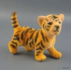Wool #Flocked Putz #Tiger Cub Figure Standing 2 inch Germany no label Vintage