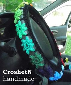 Multicolor Car Accessories Car Gifts Crochet Wheel Cover Car Decor Wheel Cover Steering wheel cozy Gift Wheel Steering wheel cover H19052