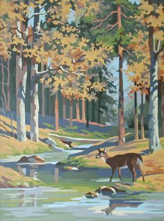 Vintage Paint By Number Paintings | Vintage PBN Paint By Numbers Deer in Woodland Painting