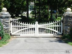 Horse Farm Entrance Gates and Barn Gates: Lucas Equine Equipment House Front Gate, Front Gates, Entrance Gates, Front Fence, Farm Entrance, Driveway Entrance, House Entrance, Garden Gates And Fencing, Fence Gate