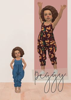 Peggy Jumpsuit by Daisy Pixels for The Sims 4 Toddler Cc Sims 4, Sims 4 Toddler Clothes, Sims 4 Cc Kids Clothing, Sims 4 Teen, Sims 4 Mods Clothes, Sims Cc, Toddler Outfits, Kids Outfits, Children Clothing