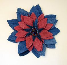 Wall Hanging  Hand Dyed Rustic Rose Red and Blue by DavidsonStudio, $52.00