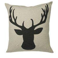 Deerhead Feather Filled Throw Pillow