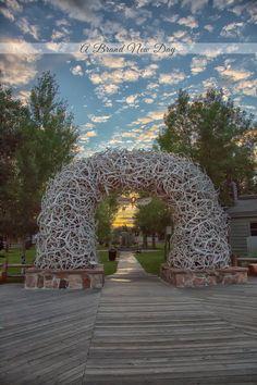 #JacksonHole Elk antler arches on Town Square.