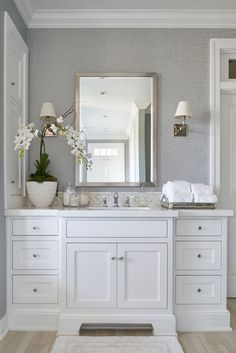 elegant bathroom design with white shaker cabinet and marble counter with traditional bathroom design, polished nickel bathroom sconces Traditional Bathroom, Classic Bathroom, Bathroom Inspiration Modern, Home Decor, Elegant Bathroom, Glam Interior Design, Bathroom Inspiration Decor, Bathroom Renovations, Bathroom Decor