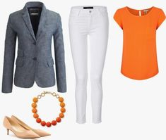 I just bought this chambray blazer from J. Crew but I don't know what to wear it with so I don't look like my mom who wears denim blazers all the time. I wore denim blazers last time they were popular and need ideas on how to look new. Casual Fall Outfits, Summer Outfits, Office Outfits, Orange Blazer Outfits, Chambray Blazer, Orange Fashion, Blazer Fashion, Work Casual, Fashion 2017