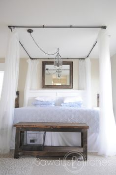 """DIY home decor. DIY bed canopy for less than $20.00! love the idea too off """"pulling"""" over a light and hanging it in the middle"""
