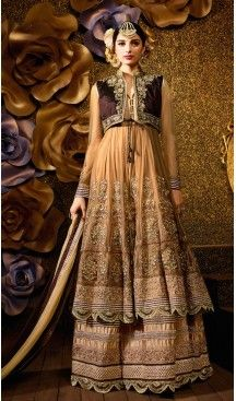 Tan Brown Banarasi Silk Long Lenght Pakistani Shalwar Kameez Designs Online…