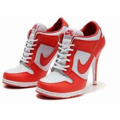 info for e5df9 6ef7a Womens Red and White Nike Dunk Heels Nike High Heels, High Heel Sneakers,  Sneaker