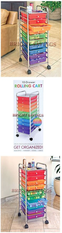 Craft Carts 146400: 10 Drawer Rolling Storage Cart For Scrapbooking Crafts  Sewing School Garage  U003e BUY IT NOW ONLY: $46.68 On EBau2026