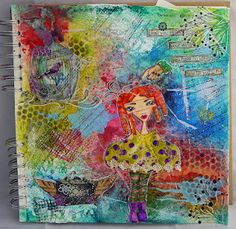 Art Journal page using Dylusions inks and stamps.