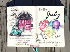 Hello July spread in my bullet journal - Amore a Prima vista