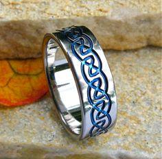 Blue Titanium Celtic Wedding Band for some reason I think Harry would like this, idk Titanium Wedding Rings, Titanium Rings, Jewelry Rings, Jewelery, Infinity Knot Ring, Celtic Wedding Bands, Celtic Rings, Wedding Men, Wedding Ideas