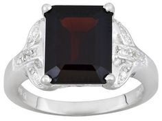 5.64ct Emerald Cut Vermelho Garnet And Round White Topaz Accent Sterling Silver Ring