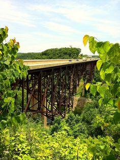 C.H. Charlton Bridges, I-77 near Camp Creek, WV. These bridges span the Bluestone River.
