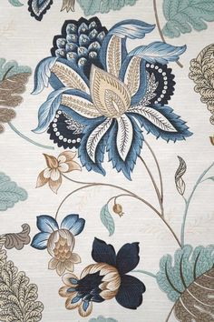 Samanta Ocean Fabric Textile Pattern Design, Batik Pattern, Textile Patterns, Pattern Art, Textile Art, Print Patterns, Ocean Fabric, Chintz Fabric, Crewel Embroidery