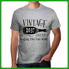 2037 Aging Like a Fine Wine Men's T-shirt Grey Birthday Gift - Food and drink shirts (*Amazon Partner-Link)