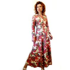 Vintage 60s Dress Pucci Made in Italy Psychedelic Silver Lurex Paisley... ($285) ❤ liked on Polyvore featuring dresses, pink, women's clothing, long sleeve party dresses, sparkly prom dresses, long sleeve prom dresses, silver prom dresses and long-sleeve maxi dresses