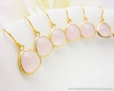 Wedding Bridesmaid Earrings Bridal Jewelry Bridesmaid Jewelry Ice Pink Gold Drop Earrings Rose Quartz Earrings Faceted Glass Stone