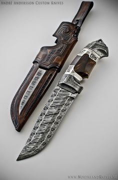 André Andersson Custom Damascus Knives - Knives, Daggers, Swords and Artknives from Sweden / Weapon Cool Knives, Knives And Tools, Knives And Swords, Katana, Lame Damas, Damascus Knife, Damascus Blade, Knife Art, Swords And Daggers