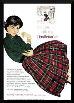 """Vintage advertisement 'The lass with the Pendleton air"""""""