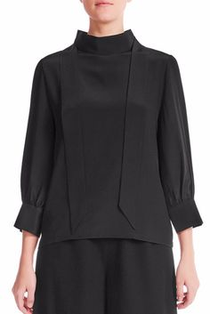 This versatile silk blouse has on-trend pussy-bow ties with a low turtle neck, sleeve, loose buttoned cuffs and centre back concealed zipper. Signature Collection, Mulberry Silk, Silk Crepe, Black Silk, Women Wear, Turtle Neck, Elegant, Blouse, Model