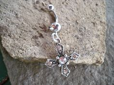 belly button ring rhinestone  small cross belly button by sindys