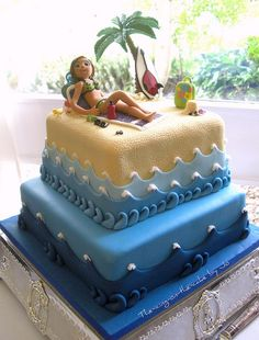 leaving party cake Vacation at the beach. Excellent sculpting, creative technique for waves. Excellent sculpting, creative technique for waves. Pretty Cakes, Cute Cakes, Beautiful Cakes, Amazing Cakes, Unique Cakes, Creative Cakes, Bolo Chanel, Pool Cake, Sea Cakes