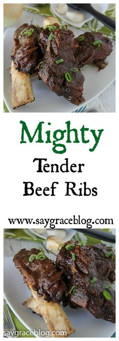 These oven roasted, mighty tender beef ribs are succulent and deliciously, fall off the bone great! Pork Loin Recipes Oven, Beef Ribs Recipe, Lamb Recipes, Meat Recipes, Dinner Recipes, Cooking Recipes, Dinner Ideas, Recipies, Beef Short Ribs