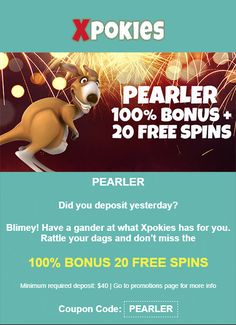 Use coupon code: PEARLER  Minimum required deposit: $40 Deposits lower than $40 will automatically receive 50% + 10 Free Spins only. This coupon is available only to players who have made a deposit the day prior to redeeming the coupon.  #australiancasinos #casinobonuscodes #bonuscodes #freebonus #freespins #auscasino #couponcodes Casino Bonus, Online Casino, Spinning, Coupon, Coding, How To Make, Free, Hand Spinning, Coupons