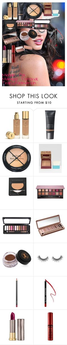 """""""Megan Fox Makeup Tutorial Transformation"""" by oroartye-1 on Polyvore featuring beauty, Yves Saint Laurent, Cover FX, Isadora, Benefit, Smashbox, Anastasia Beverly Hills, Urban Decay, MAC Cosmetics and MAKE UP FOR EVER"""