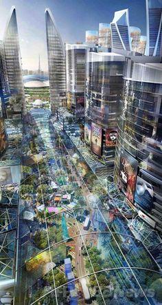 Futuristic Architecture, Mohammed Bin Rashid, Futuristic City, Mall of the World. Dubai To Build The World's First Climate-Controlled City Futuristic City, Futuristic Architecture, Amazing Architecture, Architecture Design, Chinese Architecture, Architecture Office, Office Buildings, Amazing Buildings, Future Buildings