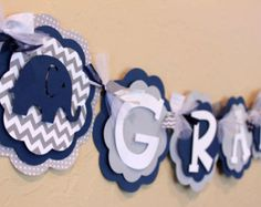 Baby shower color theme, navy blue, white and grey