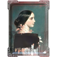 ibride Galerie De Portraits - Large Rectangular Tray - IDA - 4 ($161) ❤ liked on Polyvore featuring home, home decor, small item storage, multi, key tray, rectangular tray, black rectangular tray, black rectangle tray and black box
