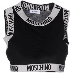 Moschino Top (1.225 BRL) ❤ liked on Polyvore featuring tops, crop top, tank tops, black, sleeveless tops, crop tank, moschino, moschino top and logo top
