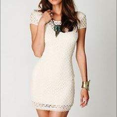 Free People Cream Dress New condition, worn once. No signs of wear. Form fitting short sleeve cream dress with lace. Free People Dresses