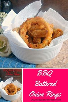 BBQ Battered Onion Rings from Seduction in the Kitchen
