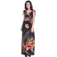 Robe longue femme ete 2018 Women Summer Long Maxi Dress Sexy Open Back V  Neck Sleeveless Floral Beach Dress Vestidos verano 375a8dd5b0b7