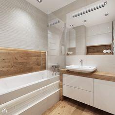Mieszkanie w bieli i cegłą w tle - Średnia łazienka w bloku bez okna, styl nowoczesny - zdjęcie od All Design Agnieszka Lorenc