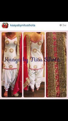 Lovely white and fuschia punjabi suit salwar kameez.