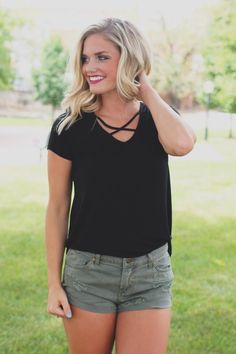 Black Short Sleeve V-neck Criss Cross Accent Knit Top