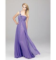 Purple A-line One Shoulder Floor Length Evening Gowns/ Dresses