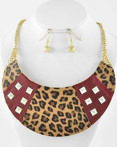 Gold Tone / Burgundy Leatherette / Lead Compliant / Brown Leopard Print Necklace & Fish Hook Earring Set