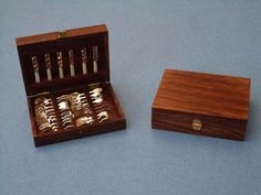 Filled Flateware Box by Mike Sparrow - $975.00 : Swan House Miniatures, Artisan Miniatures for Dollhouses and Roomboxes
